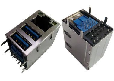2x USB3.0 Combo Jack RJ45 Gigabit Ethernet LPJU1608AHNL Shield / LEDs G-Y